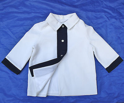 Vintage infants coat UNUSED 1960s BABY GIRLS White Navy blue 9-12 months 16""